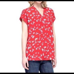 PLEIONE : V Neck Red Floral Blouse